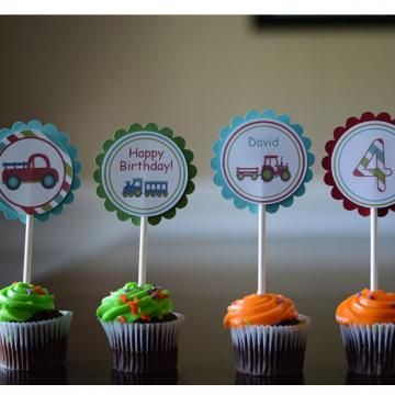 Tractors, Trucks, and Trains Cupcake Toppers by ItsAWildThing for $12.00 #cupcakes #toppers #trucks #trains #kids #birthday  #zibbet #handmade #holiday #sales