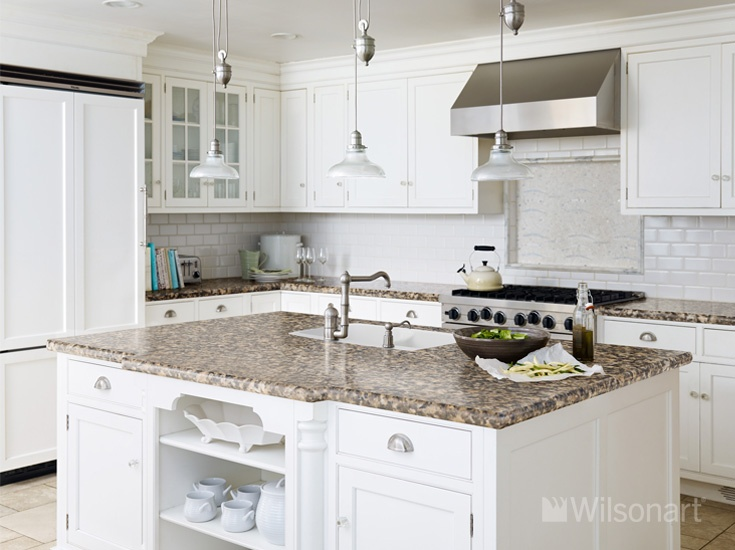 White Kitchen Cabinets With Cafe Di Pesco Antique