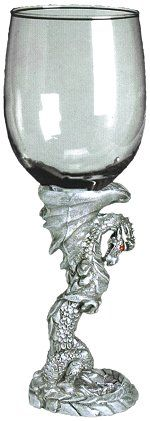 ✯ Pewter Standing Dragon Chalice - Dragons are known for their power, force, beauty and grace. In mythology the legendary dragon has been known to hold magical powers for good and evil. This chalice captures the dragon in his upright position, ready to assist the one who holds it. The dragon chalice is made from hand cast fine pewter and glass.✯