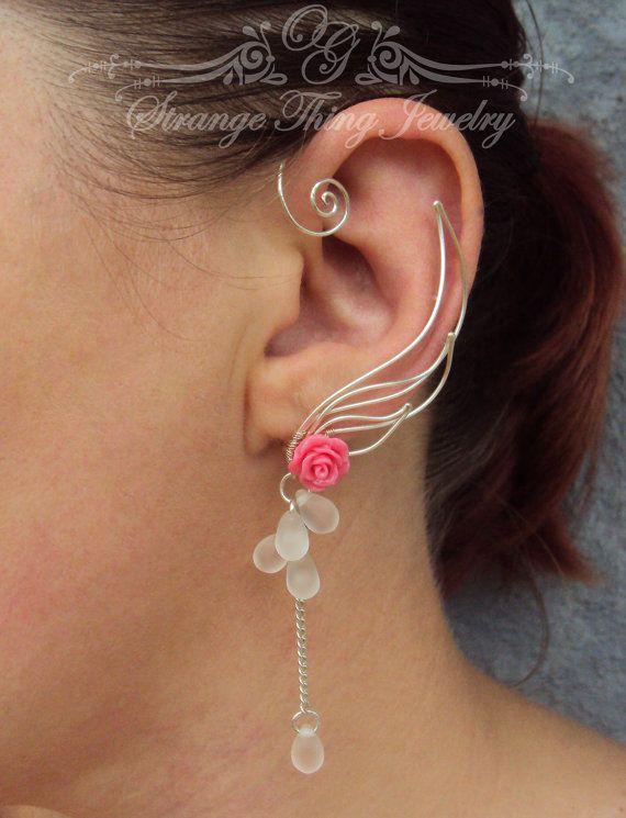 Ear cuffs Silver wings by StrangeThingJewelry on Etsy, $24.00