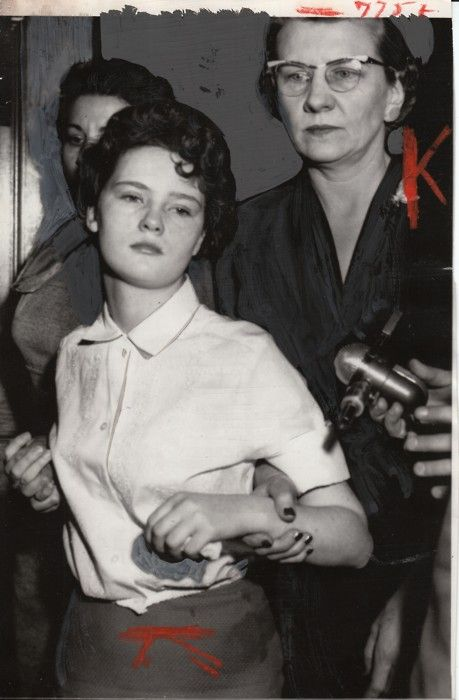 R - Caril Ann Fugate, 15 year old girlfriend of murderer Charles Starkweather 1958. She was sentenced to life imprisonment at the Nebraska Correctional Center for Women in York, Nebraska. A model prisoner, Fugate was paroled in 1976 after serving 17 years. Original painted Press Photograph collection Jim Linderman