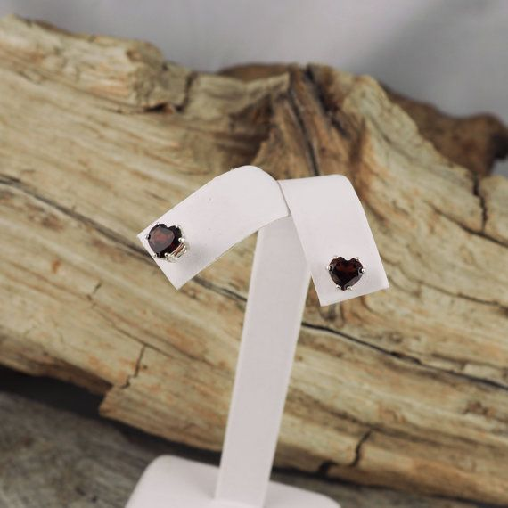 Sterling Silver Post Earrings  Natural Red Garnet Heart
