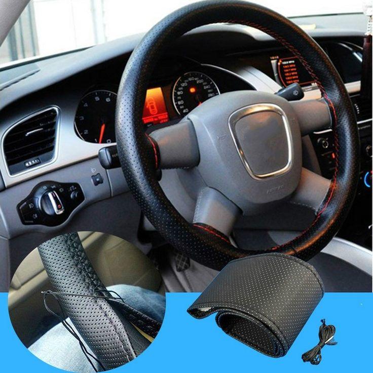 Steering Covers  1pcs Car Styling Black DIY Car Steering Wheel Cover With Needles and Thread Genuine Artificial leather Car Accessories * Vy mozhete poluchit' boleye podrobnuyu informatsiyu, nazhav na izobrazheniye.