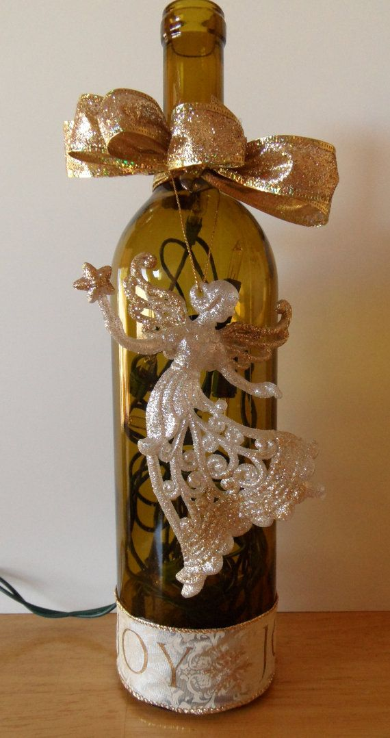 Christmas angel decorated lighted wine by for Wine bottle arts and crafts