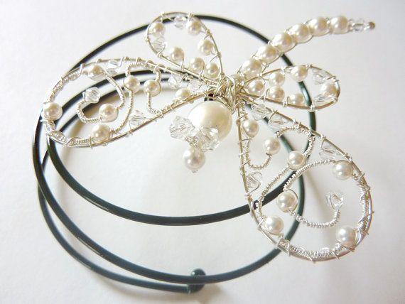 123 SALE  White Swarovski Pearl Ornate by GemstoneDragonflies, $42.00