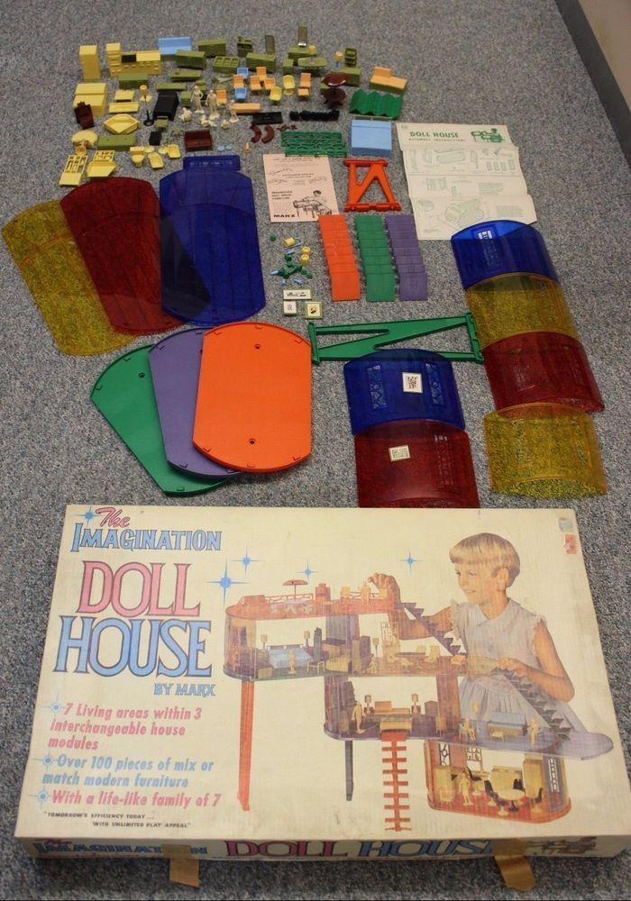 Rare Vtg 1969 Marx Imagination Doll House Play People