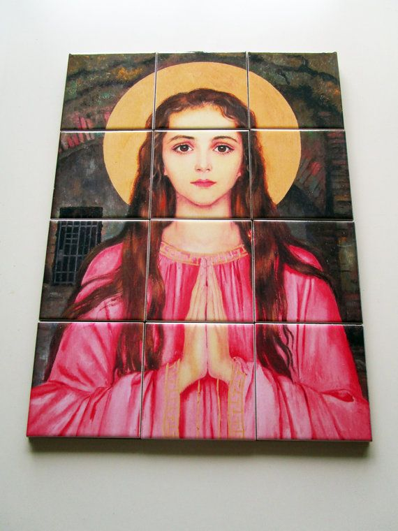 #Catholic tile art - #stphilomena - a perfect #religious gift - special price