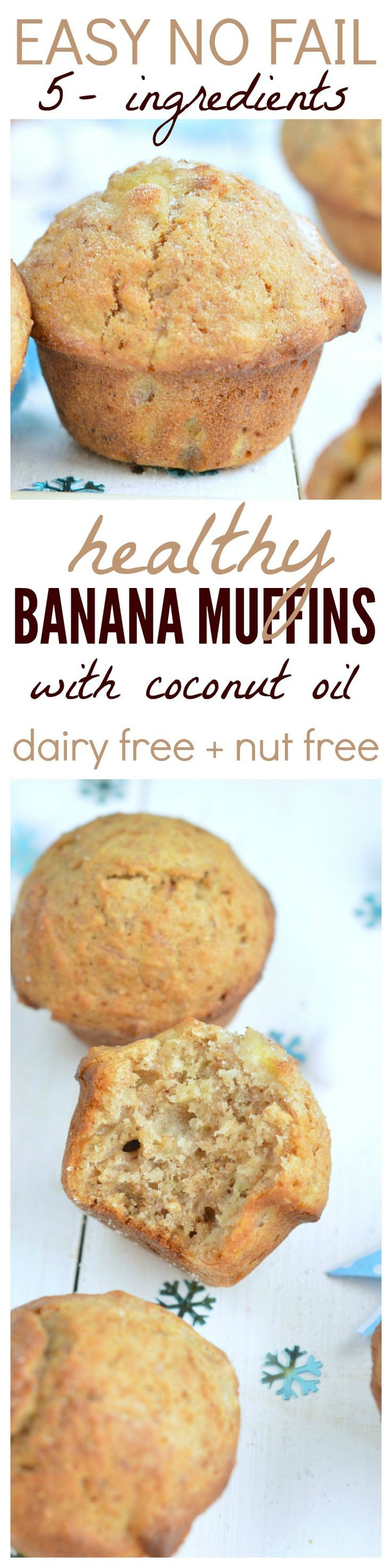 Delicious moist and fluffy banana muffins made with coconut oil are the BEST ! A great snack ready to fill your kids lunch box with healthy baking with NO processed food.