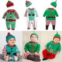 Wish | Christmas Santa Claus Baby Boys Girls Playsuit Romper Hat Outfits Set 0-3Years
