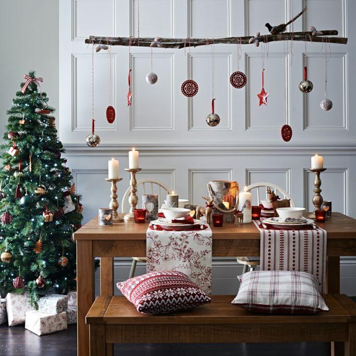 weihnachtsschmuck skandinavischer stil tischläufer weihnachten