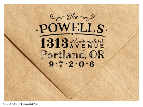 Quirky vintage address stamp by royal steamline member for Quirky retro gifts