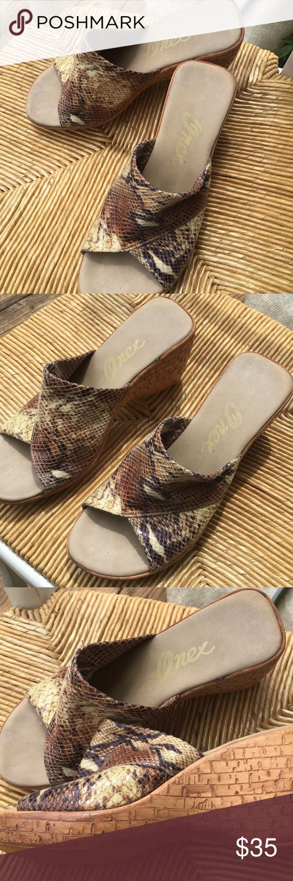 Beautiful soft Italian made leather sandals Gorgeous Italian made leather sandals uppers are soft leather with snake skin design made in Italy onex Shoes Wedges
