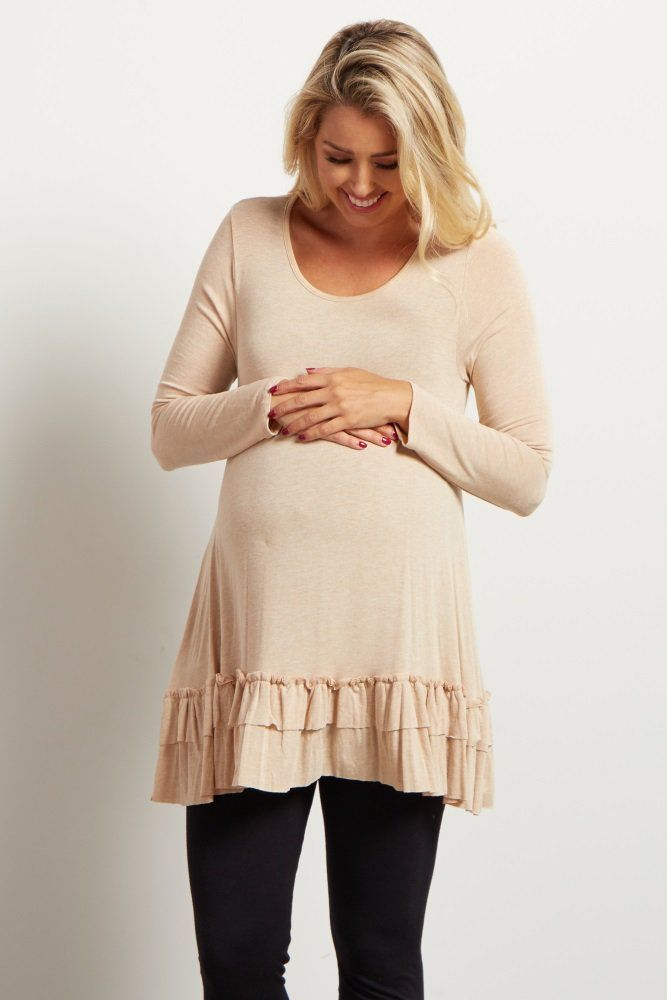 This is the perfect maternity top for a pretty look and feminine feel. A ruffled trim and long sleeves will make this one of your favorite winter essentials. Pair this ruffled maternity top with a maternity legging or jean and a stylish boot for a complete ensemble.