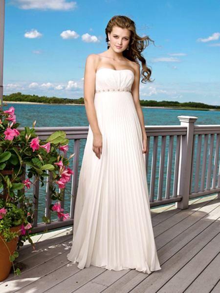 Wedding Dresses With Straps Grecian Gentle Strapless Empire Wasit Beading Chiffon Floor