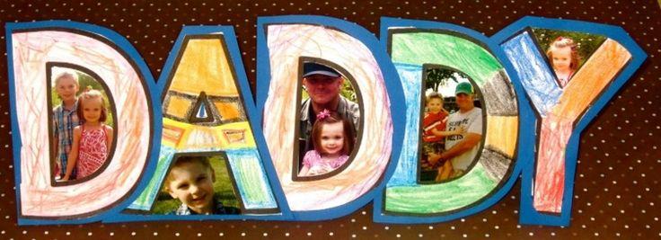 Bei dieser Vatertags-Idee bilden die selbstgemalten Buchstaben die Rahmen