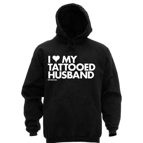 "Unisex ""I Heart My Tattooed Husband"" Hoodie by Dpcted Apparel (Black) #InkedShop #hoodie #hoody #quote #tattooed #husmand #unisex"