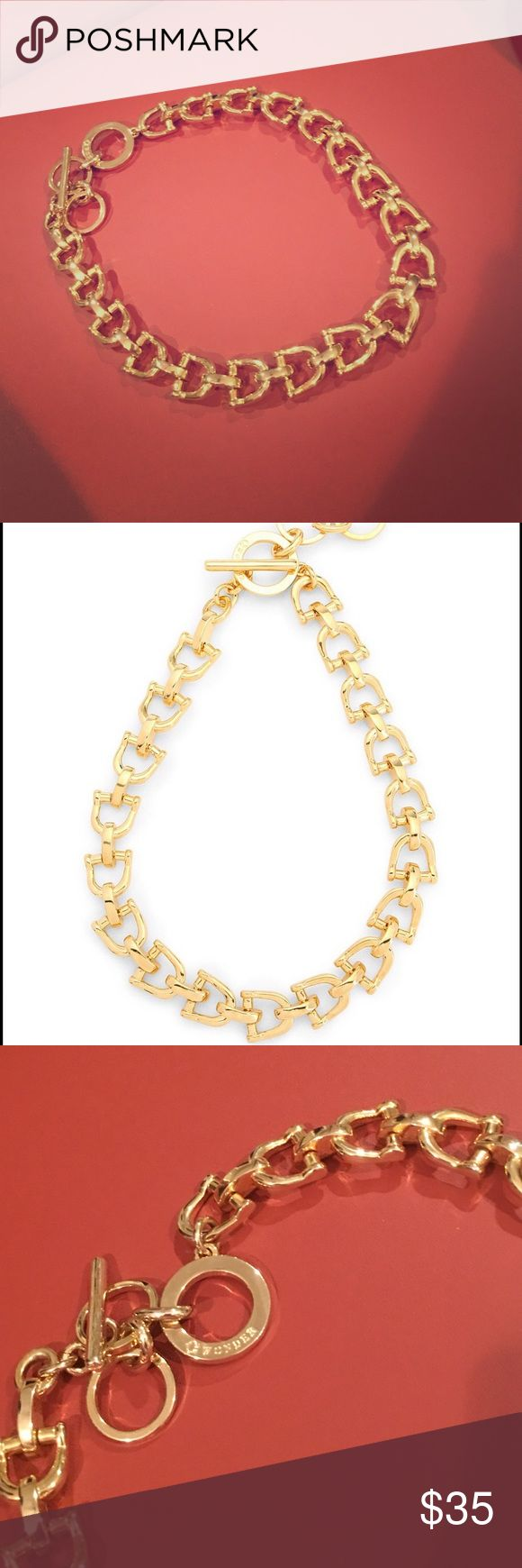 C Wonder gold stirrup link choker C Wonder 18 k gold plated metal equestrian stirrup link necklace - gently worn maybe once - mainly kept in jewelry case. Classic look. C Wonder Jewelry Necklaces