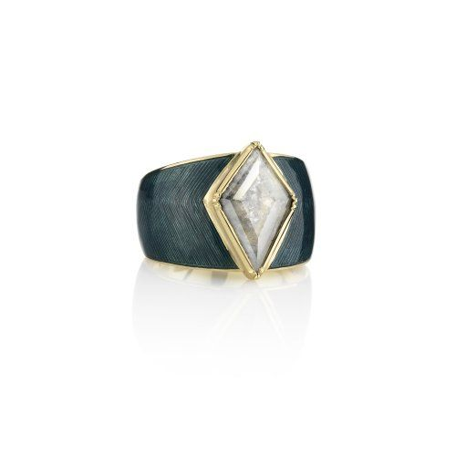 Engraved Enamelled Hex Diamond Slice Ring 2 - Fine jewellery London, LA | Contemporary Jewellery collection - Barragan - Brooke Gregson