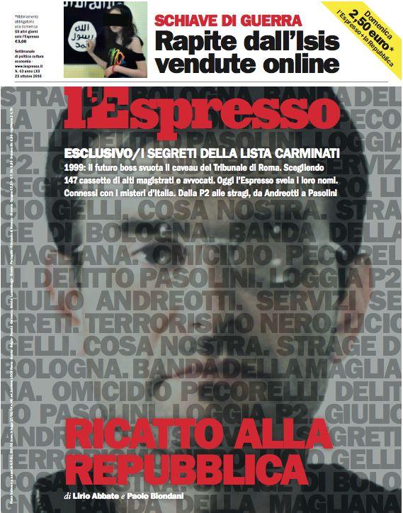 La copertina dell'Espresso in edicola da domenica 23 ottobre