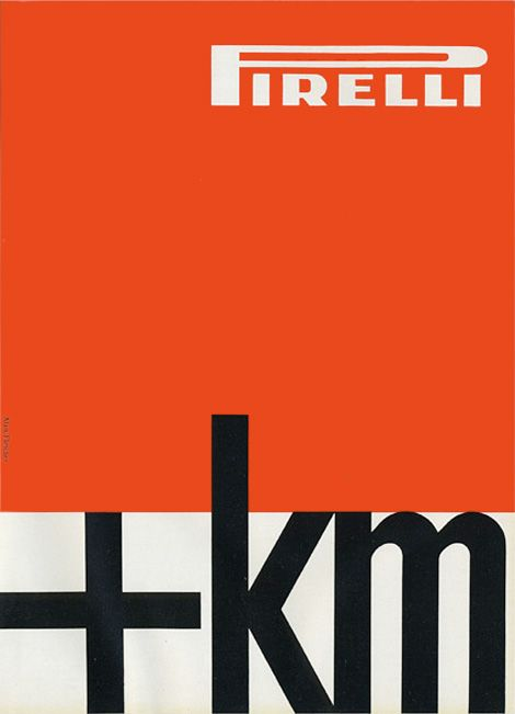 Cool ad design by Alan Fletcher for Pirelli, 1959.