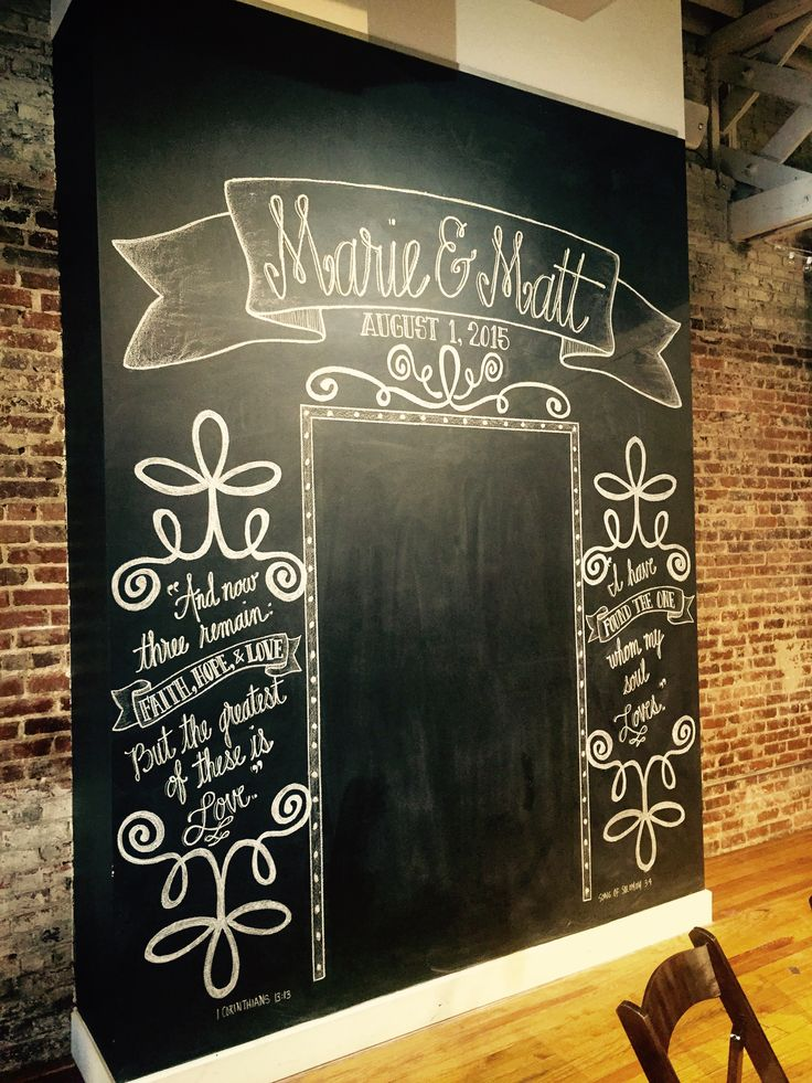 This is by far one of my favorite chalkboard projects! Guests loved using this oversized chalkboard as the backdrop for their photos throughout the evening #chalkbyjulie #chalkboardsbyjulie
