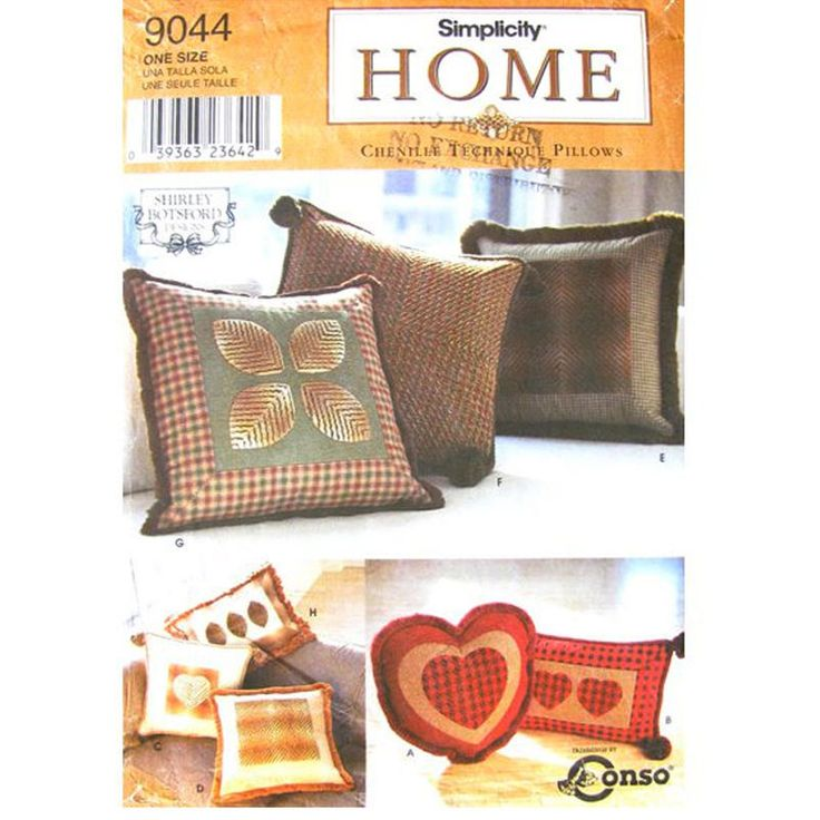 Home Decor Sewing Pattern: Chenille treatment pillows in two sizes of square pillows a heart pillow and rectangle pillows.Pattern is UNCUT with factory ...