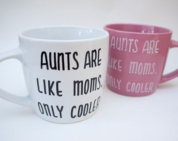 Aunt Gifts on Mother's Day for Her:  Aunts Are Like Moms But Cooler Coffee Mug by Avonnie Studio @ Etsy -- can be made for a righty or lefty!!