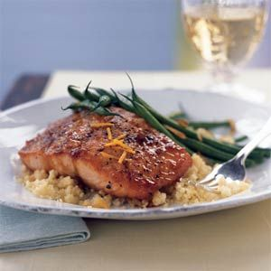 Randy Mayor For a delicious teriyaki salmon dinner, check out this Asian-inspired salmon recipe featuring a glaze made from pineapple juice, brown sugar, soy sauce, and orange zest