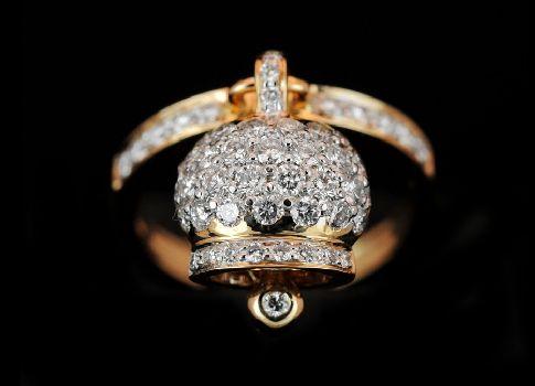 #Anello campana in oro rosa 18Kt e #diamanti. Ct 0,86.