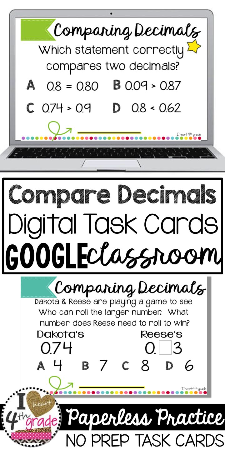 Comparing decimals | digital task cards | google classroom ideas elementary | google classroom lessons for decimals | Looking for digital problem solving tasks for comparing decimals? This set of digital task cards is aligned to 4th grade standards. ($)