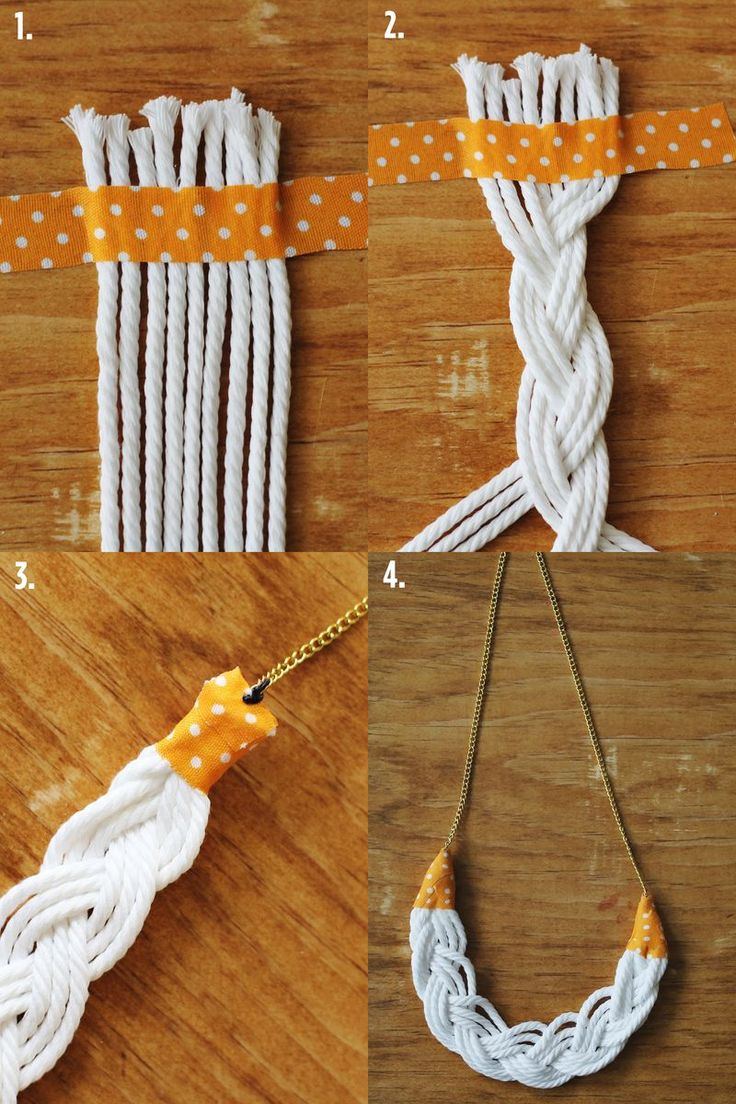 Rope Necklace DIY Steps. with colored rope, metal ends, and 4 strand braids
