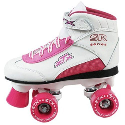 Pacer ZTX Girls White Indoor Quad Kids Roller Skates by Pacer. $49.00. Toe Stops: Non-Adjustable Bell. Plate: TORSION BEAM. Boot: COMFORT VINYL UPPER, POWER STRAP. Wheels: Injection PU. Bearings: 608ZB. Pacer ZTX Girls White Indoor Quad Kids Roller Skates - Youth Quad Skate for the young, up and coming, skaters. - SIZING: These skates come in unisex kids sizes and run true to your normal shoe size.