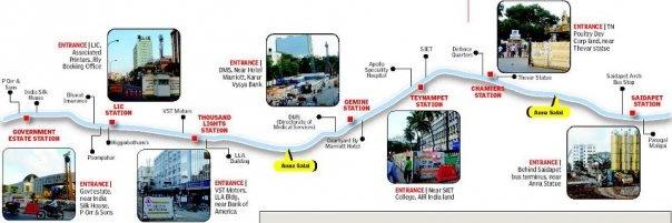 Chennai Metro Stations.