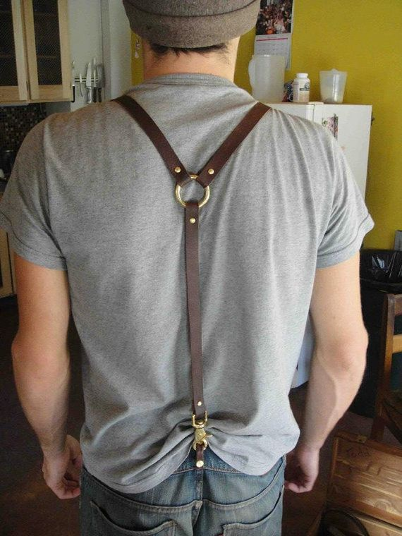 Handmade Leather Suspenders with Solid Bronze by PhageGnome