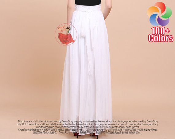 White Maxi Skirt with Waist Sash and Yoke Chiffon by DressStory