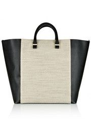 Victoria BeckhamTwo-tone textured-leather and woven linen shopper