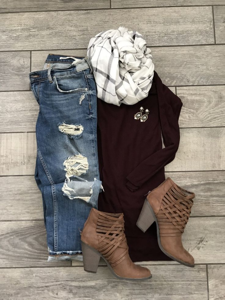 Maroon Sweater & Cage Booties –
