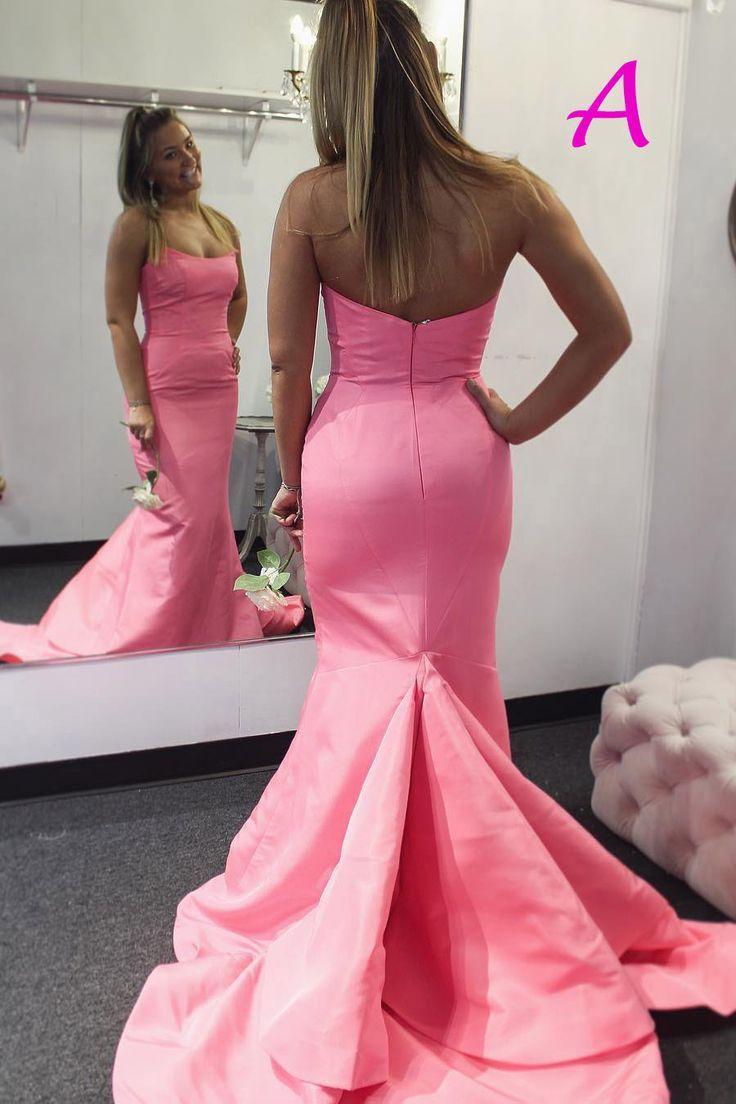 wunderschöne trägerlose Meerjungfrau rosa Abschlusskleid, langes