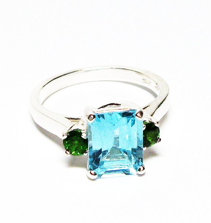 """Topaz, blue topaz ring, topaz accent ring, blue and green, 3 stone ring, anniversary ring, s 6 1/2  """"Blue Nostalgia"""" by Michaelangelas on Etsy"""