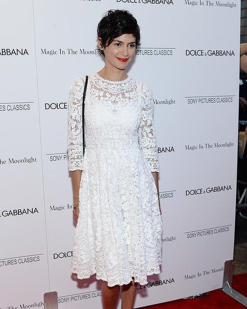 "Actress Audrey Tautou attends the ""Magic In The Moonlight"" premiere at the Paris Theater on July 17, 2014 in New York City. #smh #lifeandstyle #redcarpet"