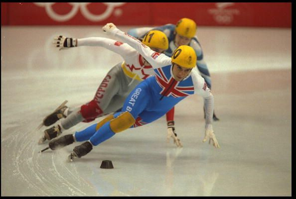 Team GB's Wilf O'Reilly leads the pack during the final on the mens 1000m short track speed skating competition at the 1992 Albertville Olympic Games