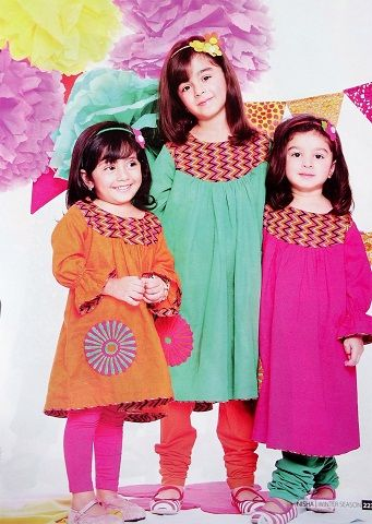 Beautiful Kids Eid Collection 2013 Frocks & Choori Pajama Design