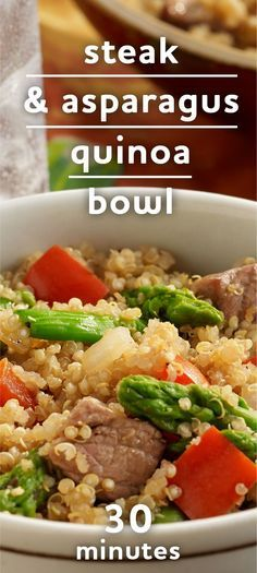 Steak and Asparagus Quinoa Bowl   Easy quinoa recipe combines cooked quinoa with tender pieces of beef, asparagus and bell pepper for a healthier main dish