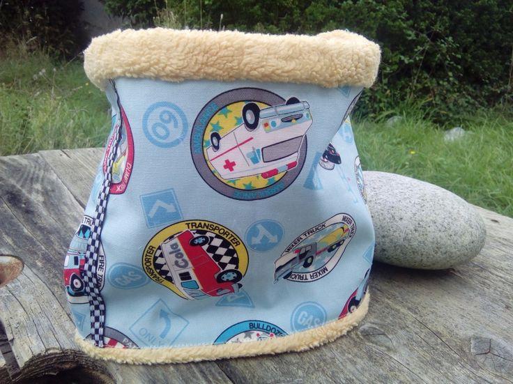 snood garçon senfant, tour de cou, foulard chaud.écharpe pour enfant polaire et coton jaune thème véhicule utilitaire