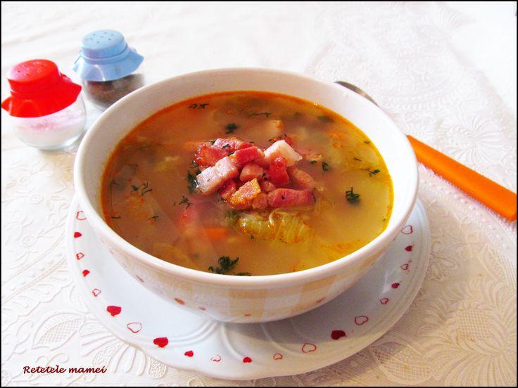 Supă de salată cu bacon afumat