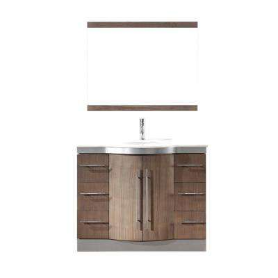 Dinara 42 in. Vanity in Smoked Ash with Nougat Quartz Vanity Top in Smoked Ash and Mirror