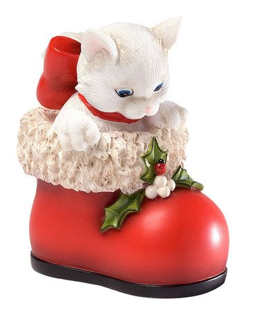 This Red Boot Cat Figurine by Charming Purrsonalities is perfect! #zulilyfinds