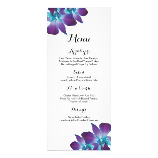Blue Dendrobium orchid wedding menu. This unique dyed orchid is purple and teal in color and works great for a wedding with peacock colors.   #weddings #weddingreception #weddingmenus #orchid #orchidlover #orchidwedding
