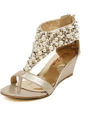 damesschoenen sleehak wig sandalen schoenen geaccentueerd met parel (meer kleuren)