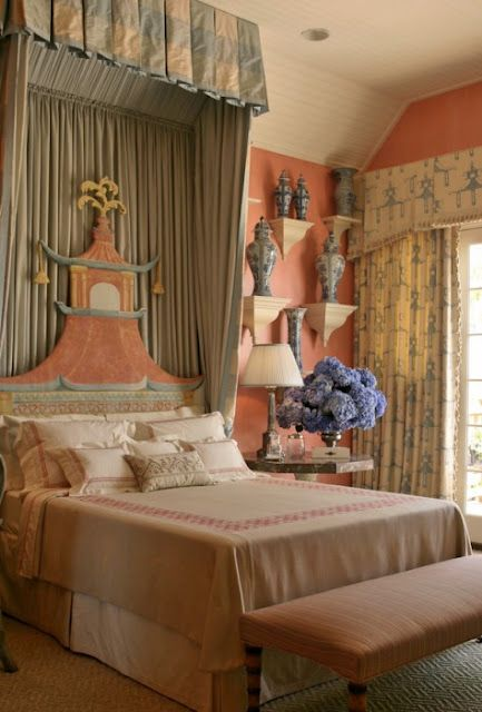 Chinoiserie inspired bedroom. Thomas Burak.